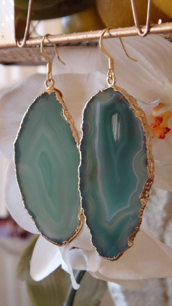 Jaded Green Agate Slice Earring, Agate Earring, Agate Geode, Geode Druzy, Geode Earrings
