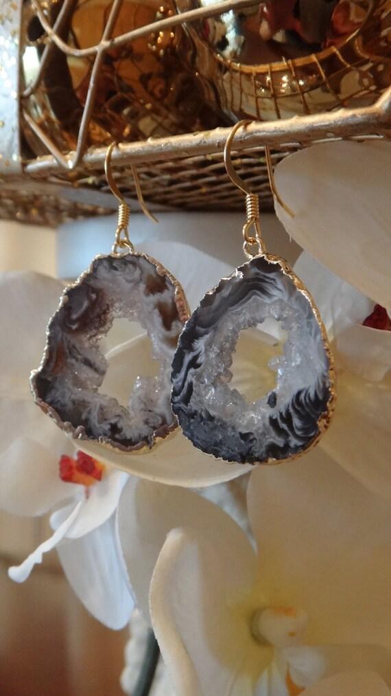 Swirled Grey Agate Geode Earring Grey/Gold Plated, Geode Druzy, Agate Earring, Druzy Jewelry