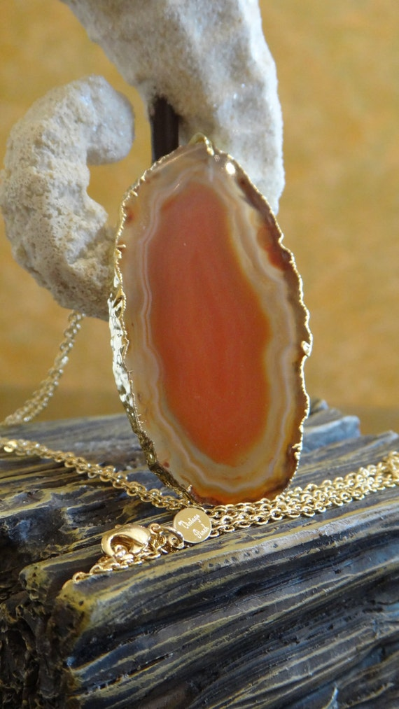 Sunkissed Tan Agate Slice Necklace, Agate Jewelry, Geode Druzy, Geode Druzy Necklace, Geode