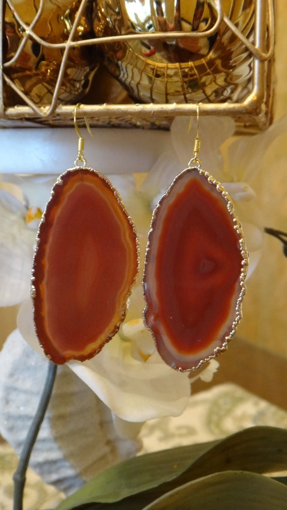 Butterscotch Tan Agate Slice Earrings, Agate Slice, Agate Geode Earrings, Geode, Geode Druzy Earrings