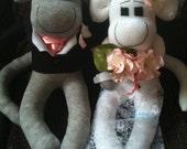 Sock Monkey Wedding Keepsake, Bride and Groom Sock Sculpture MADE TO ORDER