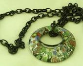 Necklace Glass Pendant Black Chain
