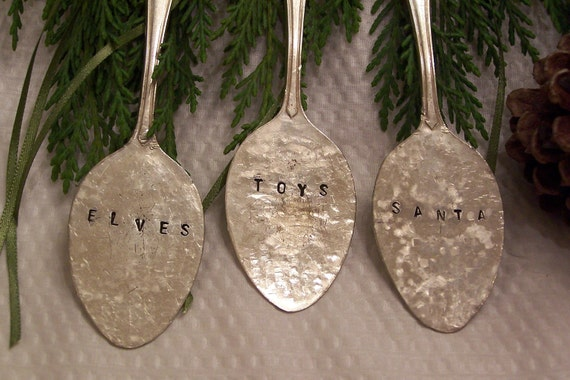 Christmas Ornaments - Elves - Toys - Santa - FREE SHIPPING -  Hand Stamped Metal - Hand Hammered - Vintage Silverplate Teaspoons