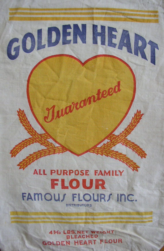 Vintage flour sack golden heart flour bold