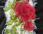 Elegant Hand Embroidery Red Organza Ribbon Rose Layered with Black Organza and White Gauze Slightly Frayed
