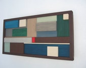 Framed Modern Rustic Wood Sculpture - 13x24 - Available