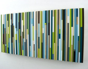 Reclaimed Wood Wall Art, Painting, Abstract Painting on Wood, Trending Items,