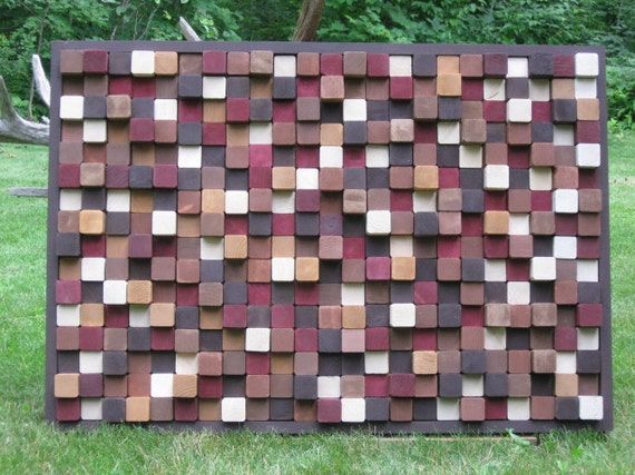Modern Rustic Wood Sculpture Wall Art Cube Reclaimed Wood Wall Hanging Painting 24x36