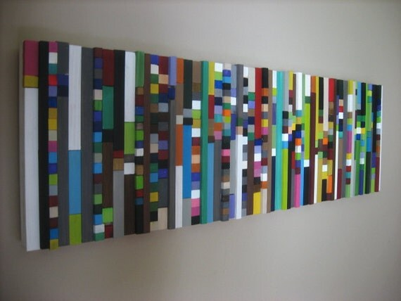 Modern Wood Sculpture,Painting, Wood Wall Art, Cubes-Made To Order