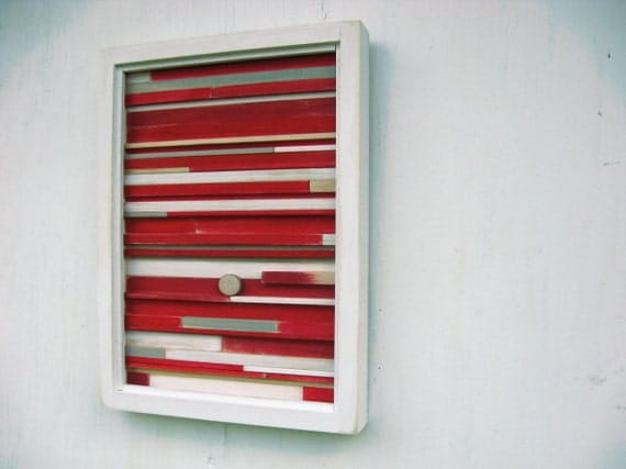Distressed Trending Items Wood Wall Art Modern Abstract   Rustic Reclaimed Red Sculpture Painting