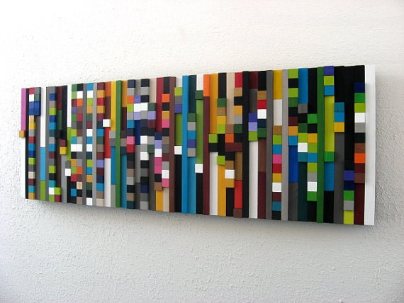 Wall art wood sculpture wood cubes - Cube wall decor ...