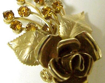 Spectacular GOLDEN ROSE BROOCH  Antique Brooch Golden Rose  Gold Tone Special