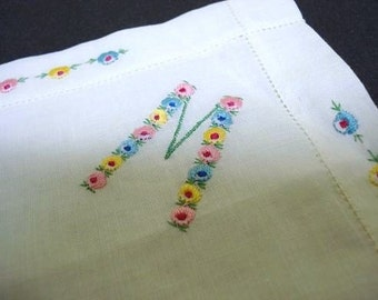 Marvelous  VINTAGE MONOGRAM HANKIE Mono M Colorful Hand Embroidery Unused