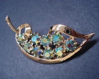 Exquisite  Antique Brooch Caprice Austrian Crystal Rhinestones