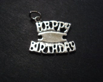 Unique Vintage Silver Pendant or Charm  HAPPY BIRTHDAY