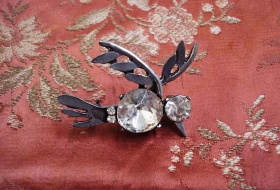 Vintage  Figural Brooch Crystal Bird - Avant Garde Style - Silvery Pewter Tone