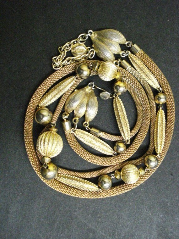 Superbe Quality Vintage Necklace Golden Beads and Metalic Mesh Cord Necklace 3 String Necklace Gold tone Signed Continental
