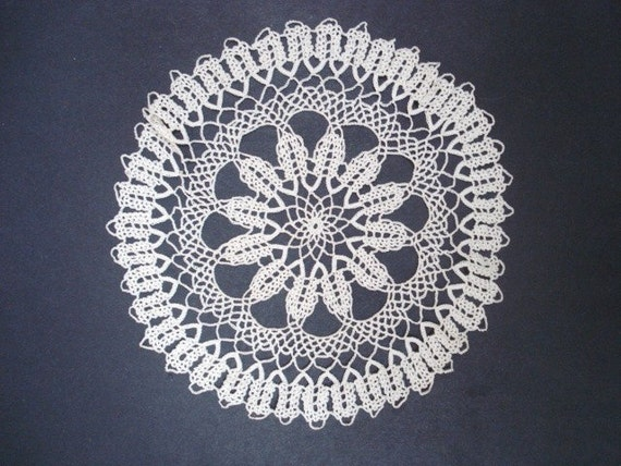 Uncommon Knitted  Antique  Lace  Doily - Hand Knitted   Lace -  Perfect Gift  - Home Decor - Lace