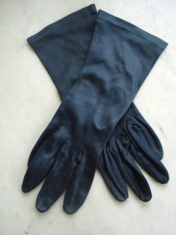 Antique Ladies Gloves, Navy Blue  -  Satin - Ladies- Women - Wedding - Size 7