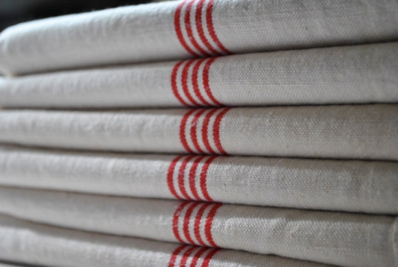 French Antique Linen Towel, early 1900's Gorgeous Red Stripes .