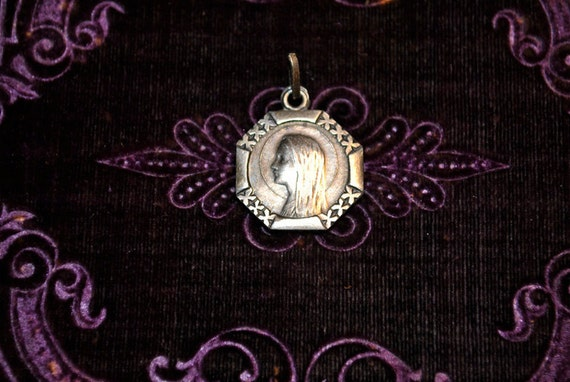 Antique French Art Deco silver Lourdes religious medal