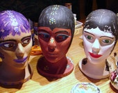 Handpainted Styrofoam Heads for Hats, Scarves, Supply