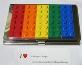 "Lego Business Card Case ""Rainbow Sunrise"" / Geekery / Rainbow Colors/ Treasury Item"