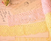The Sweetest Pink and Yellow Vintage Crochet Trim For All of Your Craft Needs