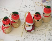 Vintage Santa and His Four Helpers Wooden Ornaments