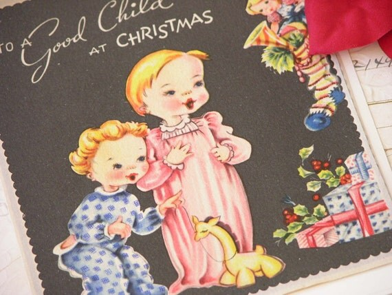 Sweet Vintage Unused Christmas Card for your Little Ones