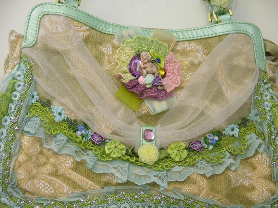 Upcycled Purse with Lace and Flower Embellishments