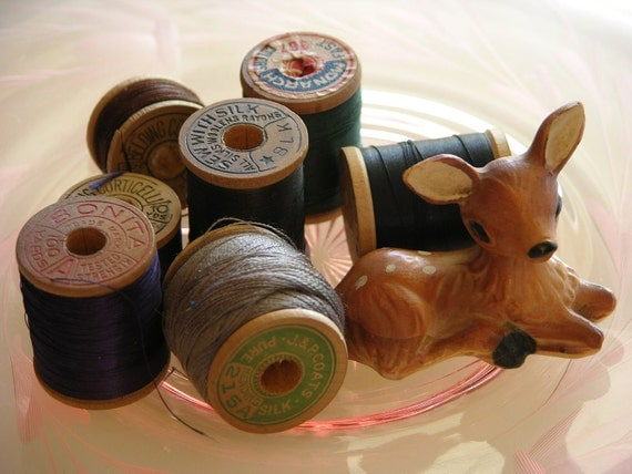 Beautiful Assorted Dark Colors of All Silk Thread Corticelli Button Hole Twist, Monarch, J and P Coats, and Bonita
