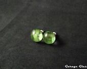 Jade Green Glass Stud Earrings