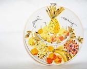 Vintage handkerchief home decor - 9 inch embroidery hoop