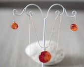 fused glass red and orange necklace and earrings
