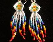 Beaded Earrings, Native American Brick Stitch and fringe.