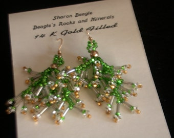 Fringy Frilly Beaded Earrings - 14 K gold Filled Earwires