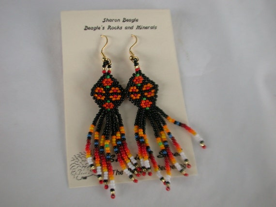 Beaded Earrings, Native American Brick Stitch and fringe.