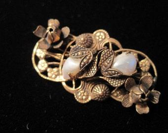 Antique pearl floral brooch