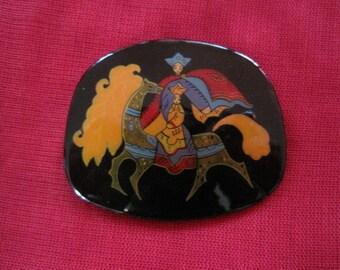 Beautiful hand painted Russian folk art brooch