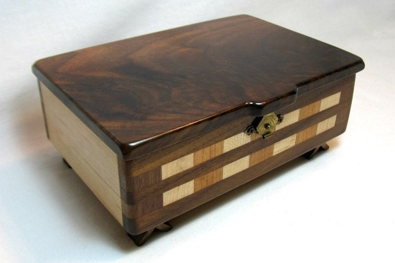 Wood Jewelry Box - Handmade from Walnut, Cherry & Maple Hard Woods