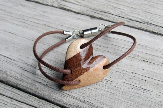 Wood Heart Bracelet - Maple & Walnut - Reclaimed Wood