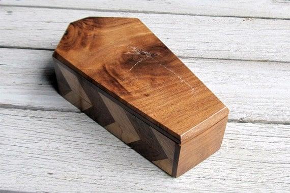 Coffin Wood Box - Maple Cherry & Walnut - Jewelry Box