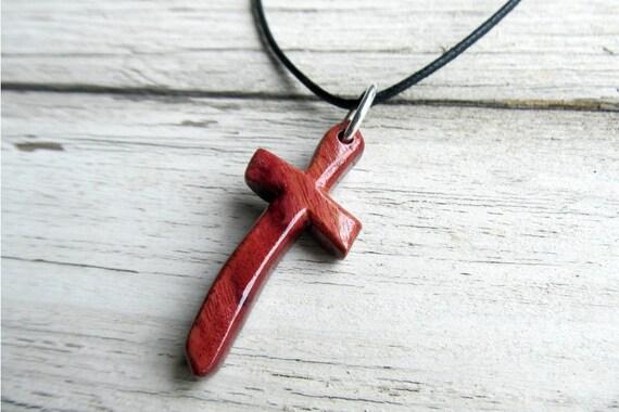 Mens Jewelry - Cross Necklace from Brazilian Purpleheart Wood