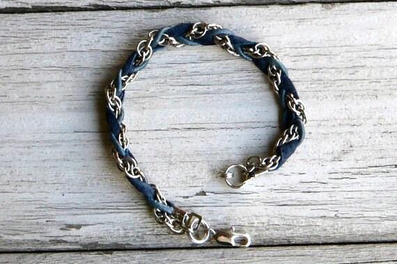 Bracelets for Men - Leather & Chain Bracelet - Mens Jewelry