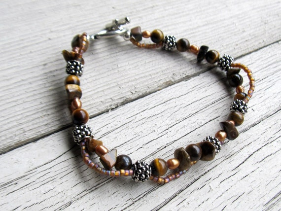 Plus size bracelets tiger eye pearl strand by thelotusshop for Plus size jewelry bracelets
