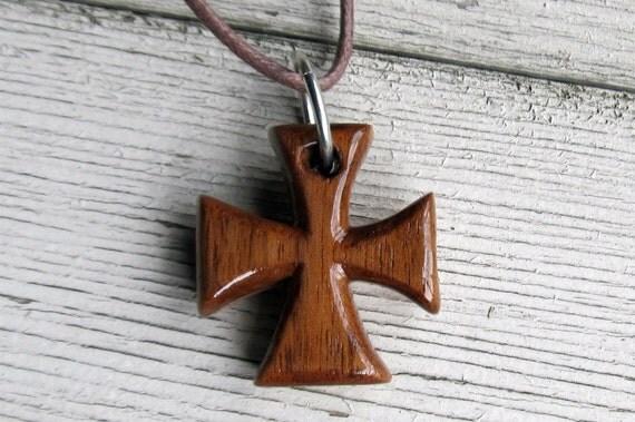 Maltese Cross Necklace - Walnut & Maple - Mens Jewelry