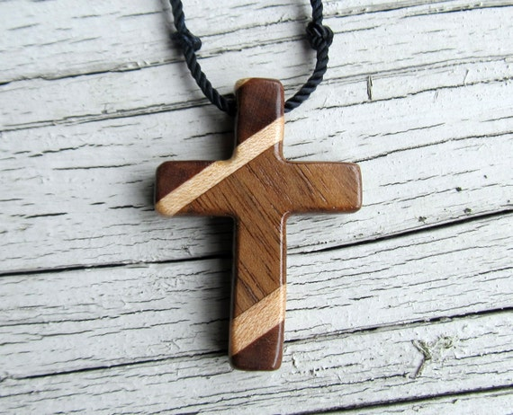 Hand Carved - Walnut - Cross - Necklace - Mens Jewelry