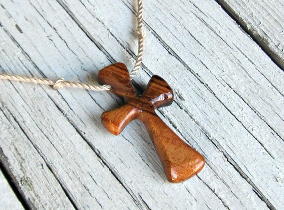 Wood Cross Pendant - Brazilian Tigerwood - Mens Jewelry