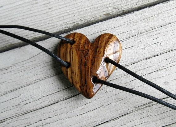 Wooden Heart Bracelet - African Zebrawood - Womens Jewelry